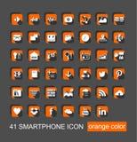 41 Smartphone-Pictogram Vastgestelde Vector Royalty-vrije Stock Foto