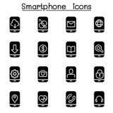 Smartphone-pictogramreeks vector illustratie