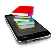 Smartphone with Pile of Books Royalty Free Stock Photos