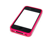 Smartphone with pink case Royalty Free Stock Images