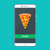 Smartphone with pizza on the screen. Order fast food concept. Flat vector illustration. Royalty Free Stock Photos