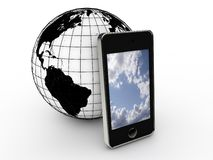 Smartphone and planet earth Royalty Free Stock Photo