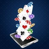 Smartphone and playing cards with chips. For online casinos stock illustration