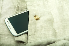 Smartphone in the pocket Stock Images