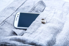 Smartphone in the pocket Royalty Free Stock Images