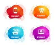 Smartphone, Presentation time and Remove purchase icons. Monitor settings sign. Vector. Liquid badges. Set of Smartphone, Presentation time and Remove purchase stock illustration