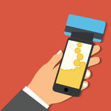 Smartphone with processing of mobile payments from credit card. Flat design style vector illustration. Smartphone with processing of mobile payments from credit Stock Photography