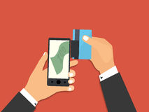 Smartphone with processing of mobile payments from credit card. Flat design style vector illustration. Smartphone with processing of mobile payments from credit Royalty Free Stock Image