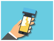 Smartphone with processing of mobile payments from credit card Stock Images