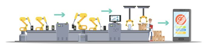 Smartphone production process on automated machinery line. royalty free illustration