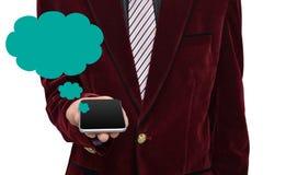Smartphone professionale della tenuta con il fumetto Immagine Stock