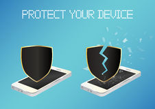 Smartphone with protected shield and broken unprotected shield Royalty Free Stock Image