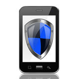 Smartphone with Protection shield,smart phone on White backgroun Royalty Free Stock Photo