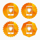 Smartphone protection sign icon. Shield symbol. Royalty Free Stock Images