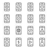 Smartphone przyrządu ikony set Zawiera taki ikony jak Upload, Rozwija, ściąganie, ostrzeżenie, mobile web, status i więcej, Rozpr ilustracji