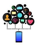 Smartphone przyrządu pojęcie z zastosowanie ikonami (app) Płaski projekt również zwrócić corel ilustracji wektora royalty ilustracja