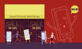 Smartphone is pulling its owner to the emporium. To shop. Cartoon vector flat-style concept illustration stock illustration