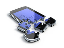 Smartphone puzzle. 3D concept with smartphone puzzle Stock Images