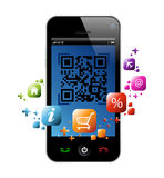 SMARTPHONE QR CODE APP VECTOR ILLUSTRATION. Illustration of a mobile phone with scanning qr code Royalty Free Illustration