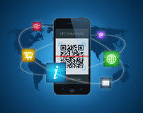 Smartphone with QR code reader. A smartphone showing a QR code reader. Information concept with icons for shopping, information, email, websites and the ease Royalty Free Stock Image