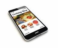 Smartphone que cocina el blog rinde Imagen de archivo