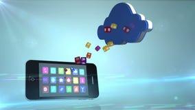 Smartphone que comunica con la nube ilustración del vector