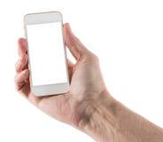 Smartphone que se sostiene derecho masculino con la pantalla en blanco imágenes de archivo libres de regalías