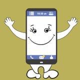 Smartphone que sonríe con las manos y las piernas Imágenes de archivo libres de regalías