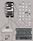 Smartphone qwerty klawiatury rzeczy ilustracja wektor