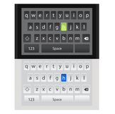 Smartphone QWERTY mobile keyboards mock-ups. Different colors and styles. Ideal for mobile design applications. Alphabetical keyboards for smartphone and app Royalty Free Stock Image