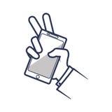 Smartphone ręki gadżetu technologii mobilna ikona gdy dekoracyjna tło grafika stylizował wektorowe zawijas fala ilustracji
