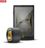 Smartphone with racing wheel and track on the Royalty Free Stock Photo