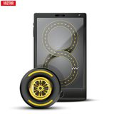 Smartphone with racing wheel and track on the Stock Photos