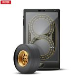 Smartphone with racing wheel and track on the Stock Photo