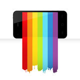 Smartphone with rainbow paint Royalty Free Stock Photos