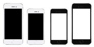 Smartphone realístico brandnew do preto do telefone celular em dois tamanhos m Fotografia de Stock Royalty Free
