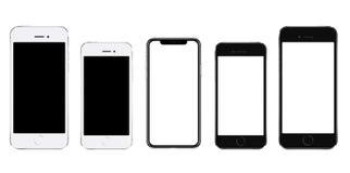 Smartphone realista a estrenar del negro del teléfono móvil en tres tamaños ilustración del vector