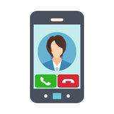 Smartphone with receiving phone call. Female avatar icon. Vector illustration Stock Image