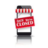 Smartphone Red Awning Closed. Black smartphone with red white awning and sign Sorry We`re Closed Stock Images