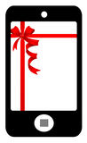 Smartphone with red bow Royalty Free Stock Photography