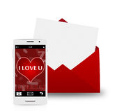 Smartphone with red envelope Royalty Free Stock Images