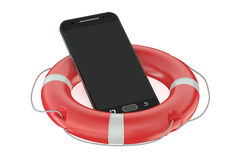 Smartphone with Red Lifebelt. Isolated on white background Stock Images