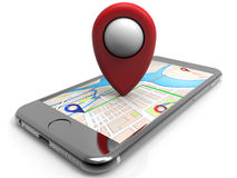 Smartphone red pinpoint location Royalty Free Stock Photography