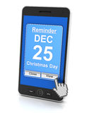 Smartphone reminder for Christmas Day, 3d render. White background Royalty Free Stock Photos