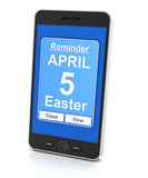 Smartphone reminder for Easter day 2015 Stock Photography