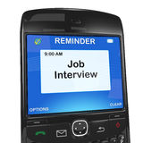 Smartphone reminder, job interview Royalty Free Stock Image