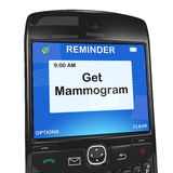 Smartphone reminder, mammogram Royalty Free Stock Images