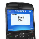 Smartphone reminder, start diet Stock Image