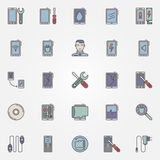 Smartphone repair colorful icons Royalty Free Stock Photo