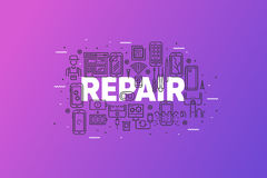 Smartphone Repair And Service Line Concept Banner Stock Photos